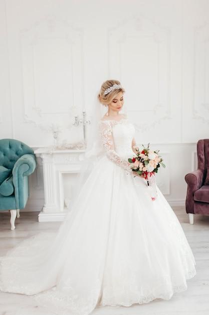 Mariée Glamour En Robe De Mariée Photo Premium