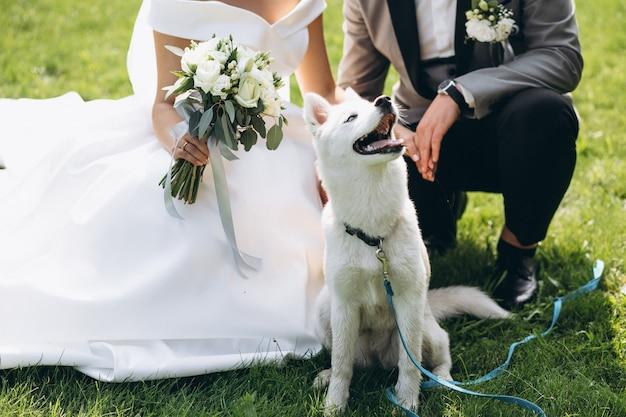 Mariée avec marié avec leur chien le jour de leur mariage Photo gratuit