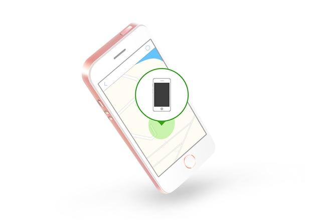 Marqueur sur l'icône de carte web trouver sur l'écran du téléphone Photo Premium