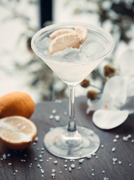 Martini blanc avec des tranches de citron Photo gratuit