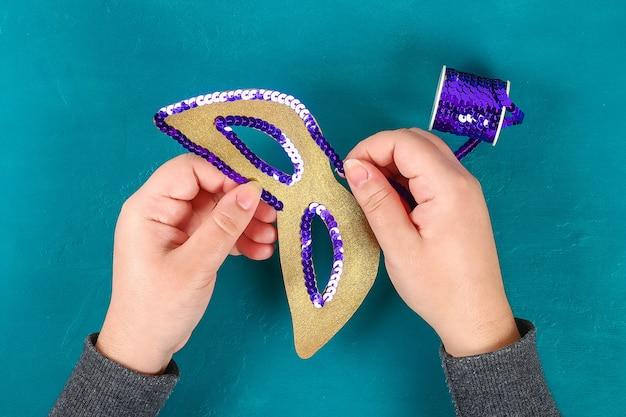 Masque de bricolage mardi gras, mardi gras. Photo Premium