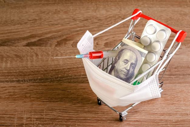 Masque Médical, Seringue, Comprimés, Cent Dollars Se Trouve Dans Le Panier De Jouets. Copiez L'espace Pour Le Texte. Photo Premium