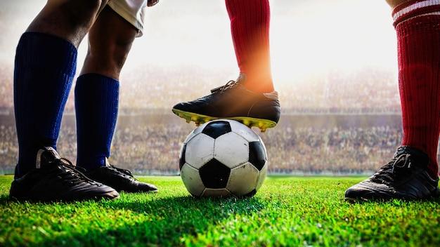 Match de football de football coup d'envoi Photo Premium