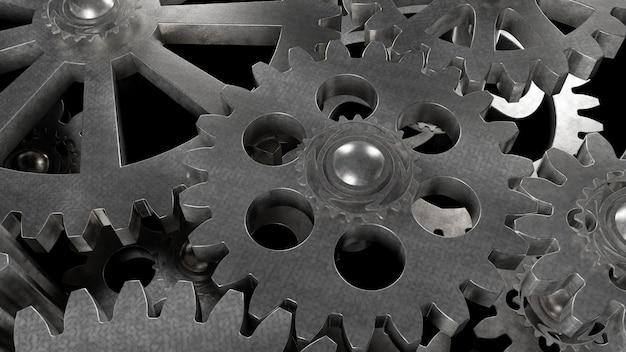 Mécanisme d'engrenage en acier Photo Premium