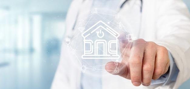 Médecin tenant l'interface maison intelligente avec icône, statistiques et données Photo Premium