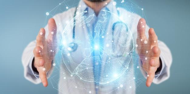 Médecin utilisant l'hologramme de réseau globe europe Photo Premium