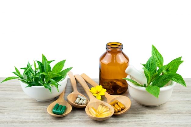 Médecine alternative, comprimés, pilules et suppléments vitaminiques biologiques Photo Premium