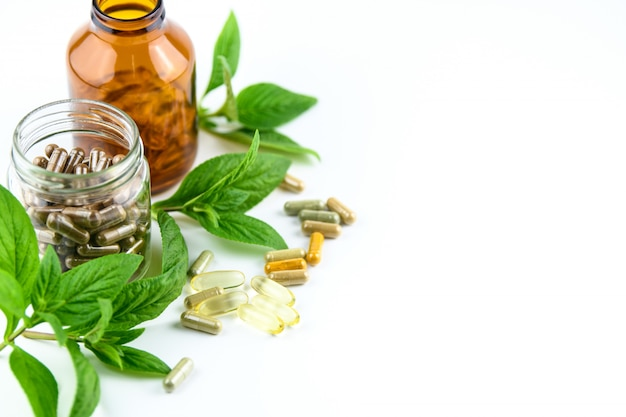 Médecine Alternative, Vitamines Et Suppléments D'herbes Naturelles Photo Premium