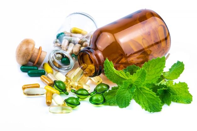 Médicament à base de plantes à la menthe à base de plantes pour une bonne santé Photo Premium