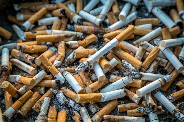 Mégots de cigarettes avec des cendres dans le cendrier, zone fumeurs / vie malsaine Photo Premium