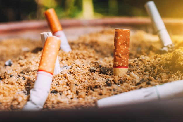 Mégots de cigarettes dans des pots de sable, concept non fumeur Photo Premium