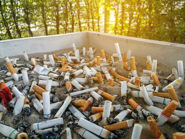 Les mégots de cigarettes, fumé dans le cendrier sont mauvais pour la santé Photo Premium