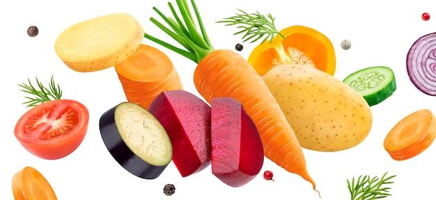 Mélange De Légumes Isolé Photo Premium