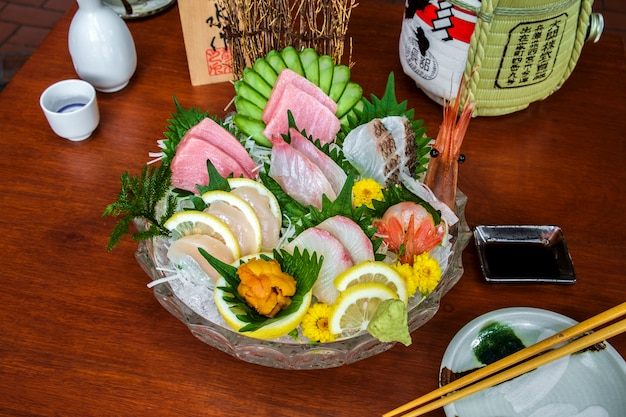 Menu De Poisson Cru Sashimi Photo gratuit