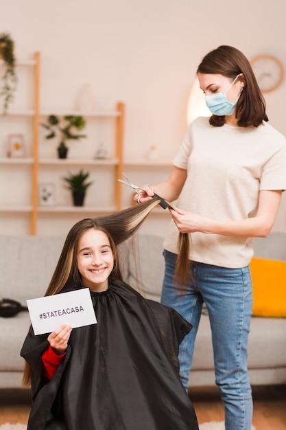 Mère, Coupe, Fille, Cheveux Photo gratuit
