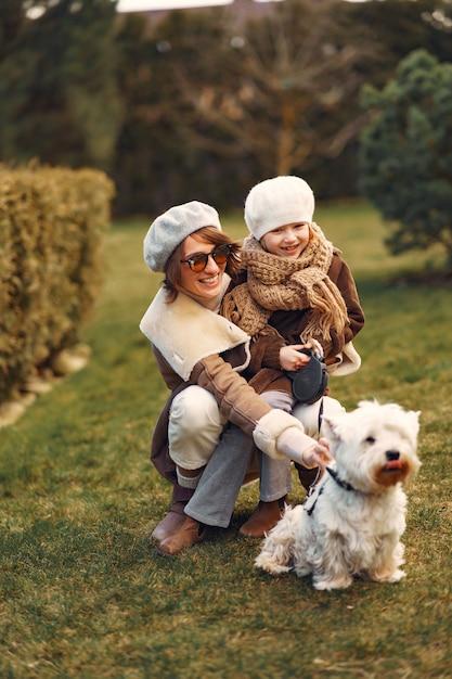 Mère, Fille, Promenades, Chien Photo gratuit