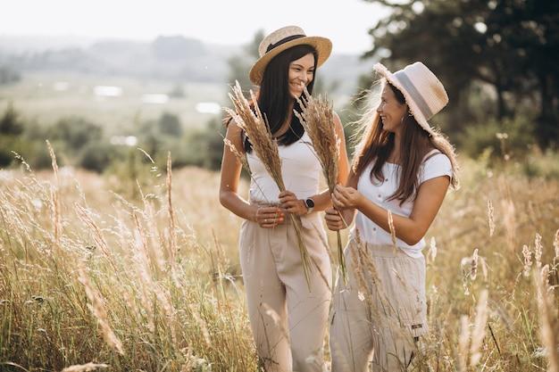 Mère avec sa fille ensemble dans le champ Photo gratuit