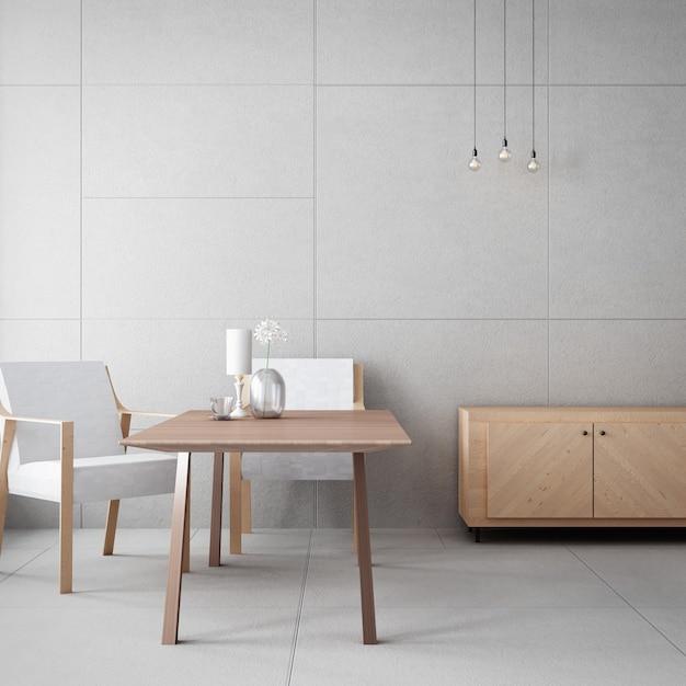 Meuble De Salon Et Mur De Béton / Intérieur De Rendu 3d Photo Premium