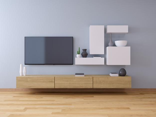 Meuble télé et intérieur moderne du salon Photo Premium