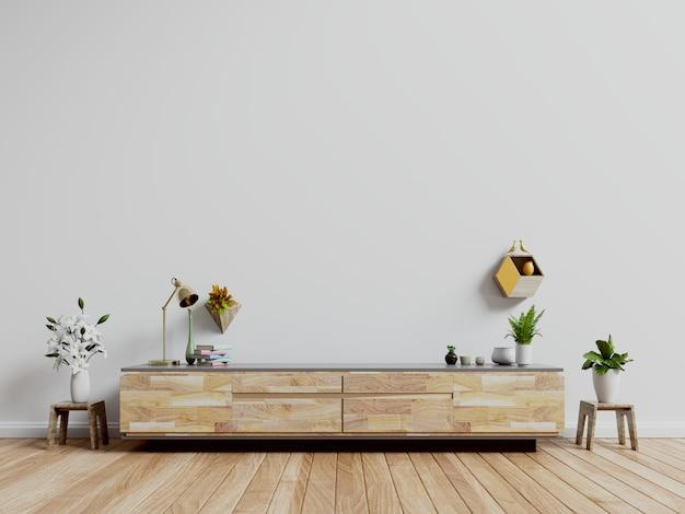 Meuble télé, meuble télé dans une pièce vide moderne, mur blanc. Photo Premium