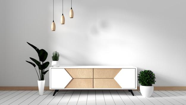 Meuble de télévision dans une pièce vide moderne de style japonais - zen, conceptions minimales. rendu 3d Photo Premium