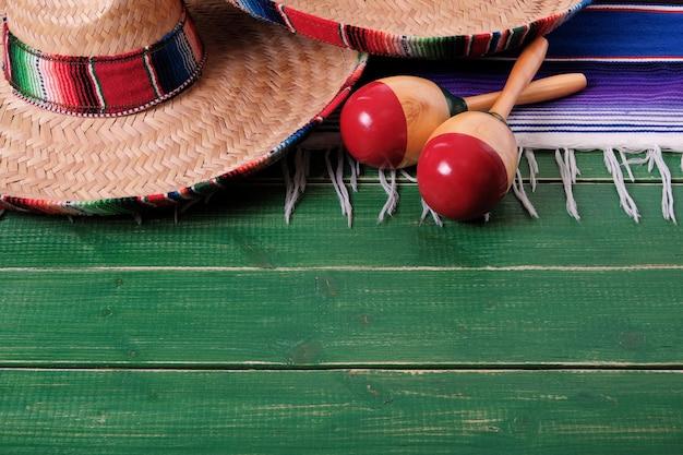 Mexique bois sombrero fiesta cinco de mayo Photo Premium