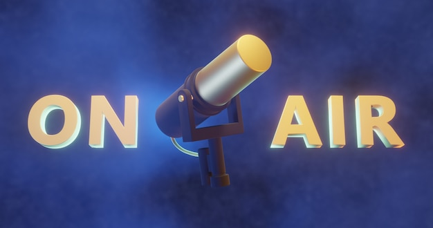 Microphone En Rendu 3d Avec Texte 3d Sur L'air, Fond De Podcast Photo Premium