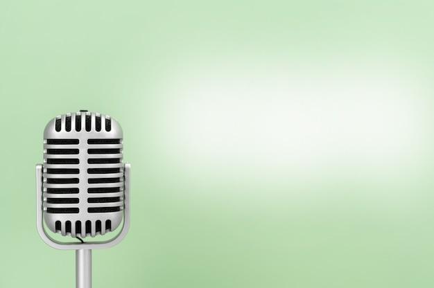 Microphone Rétro Avec Espace Copie Sur Fond De Cupidité Photo Premium