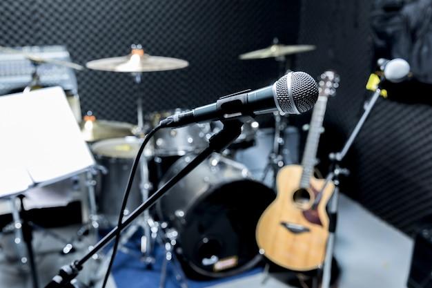Microphone De Studio à Condensateur Professionnel, Concept Musical. Enregistrement, Microphone De Mise Au Point Sélective En Studio Radio, Photo Premium
