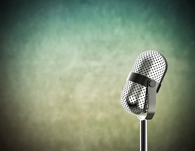 Microphone sur vert Photo Premium