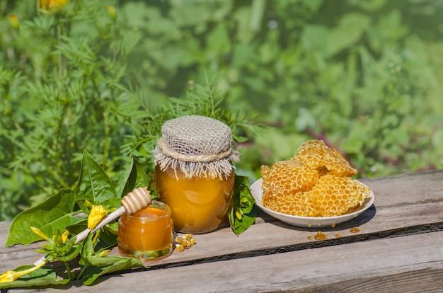 Miel en pot avec une louche de miel sur une table en bois rustique Photo Premium