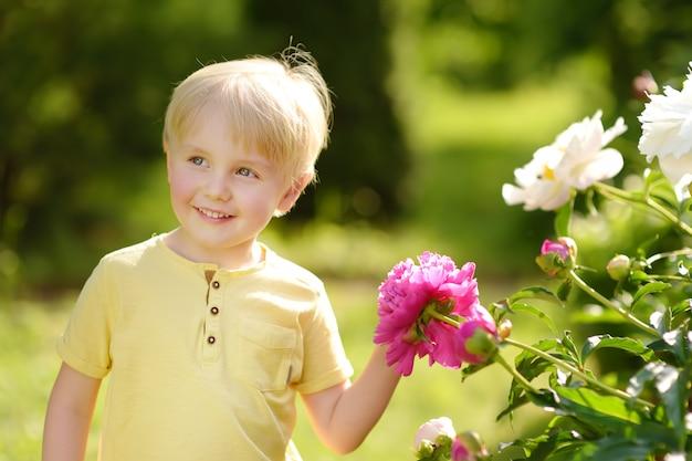 Un mignon petit garçon regarde des pivoines violettes et blanches dans un jardin domestique ensoleillé Photo Premium