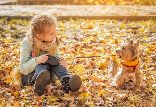 Mignonne Petite Fille Avec Yorkshire Terrier En Automne Parc Photo Premium