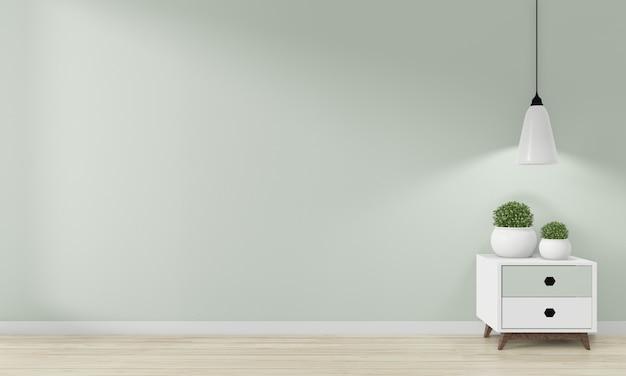 Mini armoire japon design minimaliste et décoration de maquette sur des décors de pièce zen.3d rednering Photo Premium