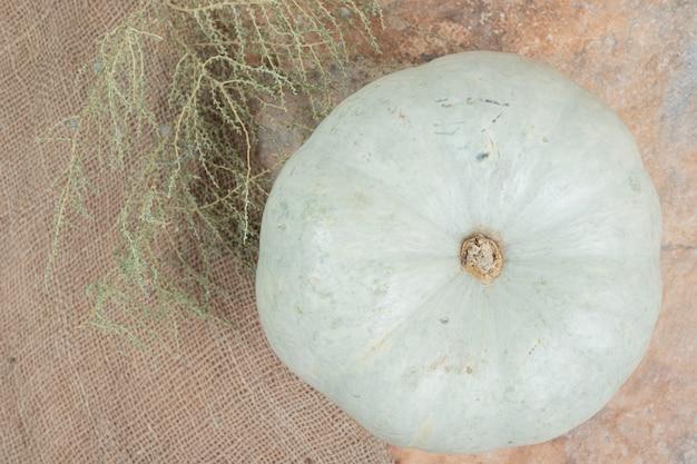 Mini Citrouille Blanche Sur Toile De Jute Avec Plante. Photo gratuit