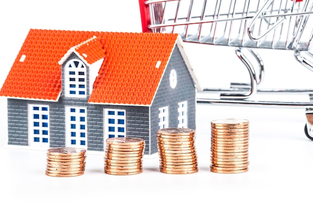 Mini maison sur pile de pièces Photo Premium