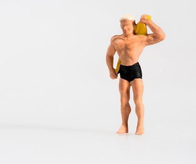 Miniature, homme, dessécher, dos, serviette Photo Premium
