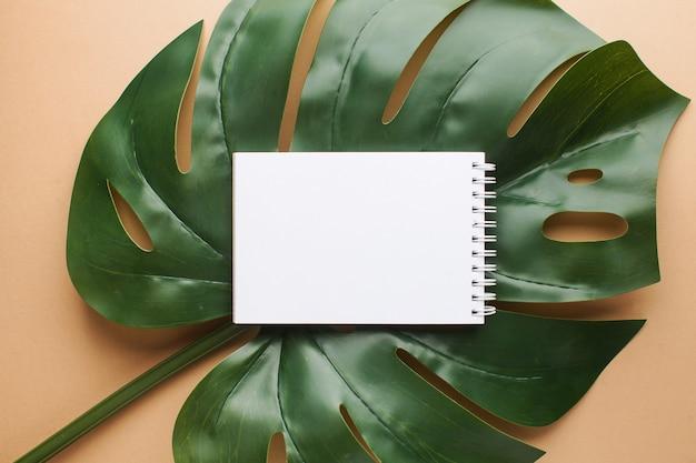 Mise En Page D'un Morceau De Papier Sur Une Feuille De Palmier Avec Un Espace Pour Le Texte. Thème D'été. Mise à Plat. Photo Premium