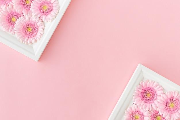 Mise à Plat De Cadres Blancs Avec Des Gerberas De Fleurs Roses Photo Premium