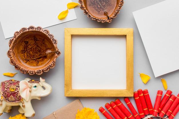Mise à Plat Du Concept De Diwali Avec Espace Copie Photo gratuit
