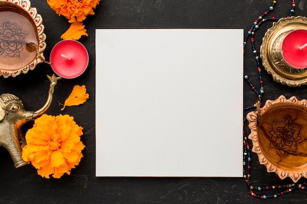 Mise à Plat Du Concept De Diwali Avec Espace Copie Photo Premium