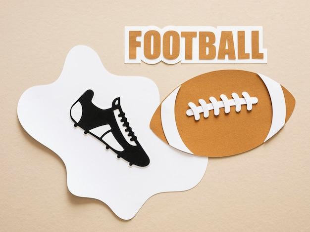 Mise à Plat Du Football Américain Et De La Sneaker Photo gratuit