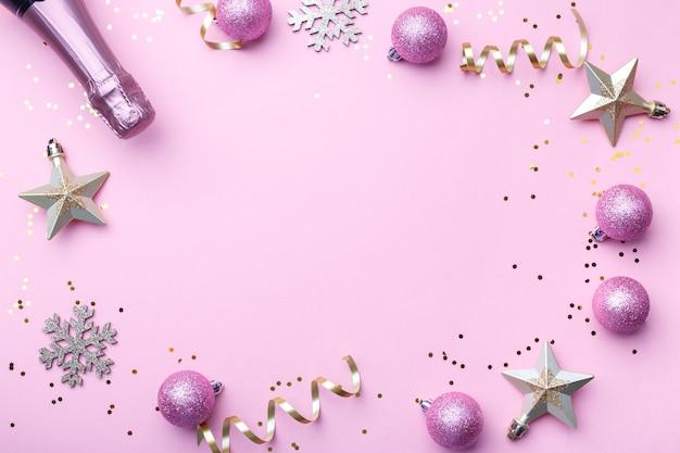Mise à Plat De Noël Avec Champagne Photo Premium