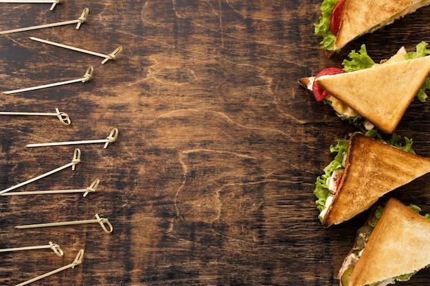 Mise à Plat De Sandwichs Triangle Avec Espace Copie Photo gratuit