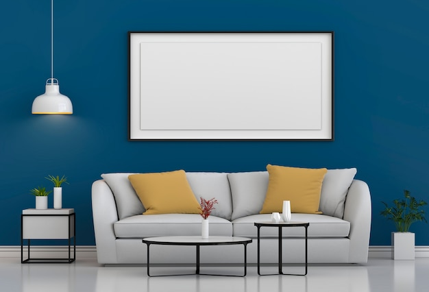 Mock up image frame en fond de salon moderne intérieur hipster Photo Premium