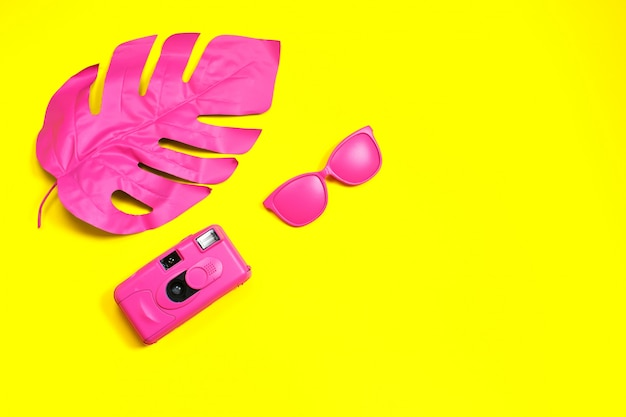 Mode lunettes de soleil rose et appareil photo. feuille tropicale Photo Premium
