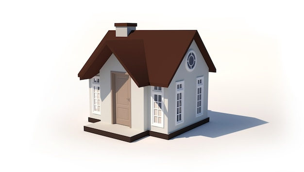 Modèle 3d d'une petite maison isolée Photo Premium