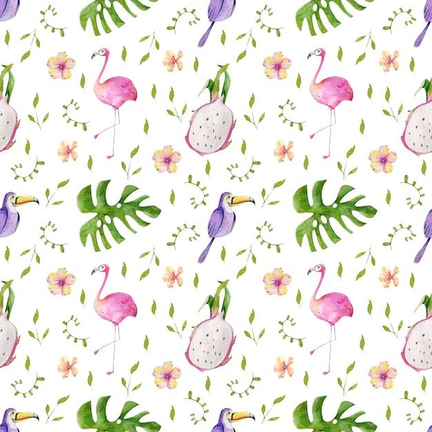 Modèle Aquarelle De Feuilles Tropicales, De Fleurs Et D'oiseaux Photo Premium