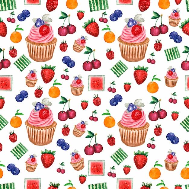 Modèle d'aquarelle peinte collection de fruits et de baies et de cupcake. Photo Premium