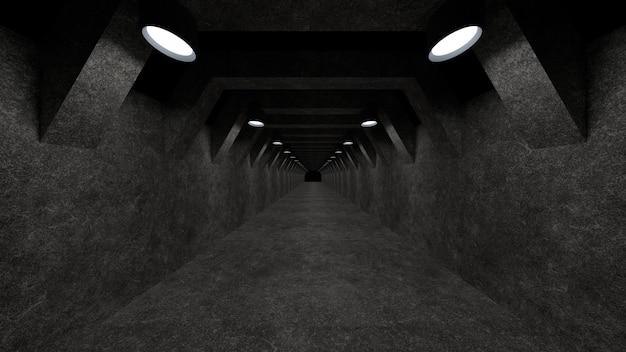 Un Modèle De Couloir En Béton Avec éclairage Pour Une Utilisation En Tant Que Surface Photo Premium